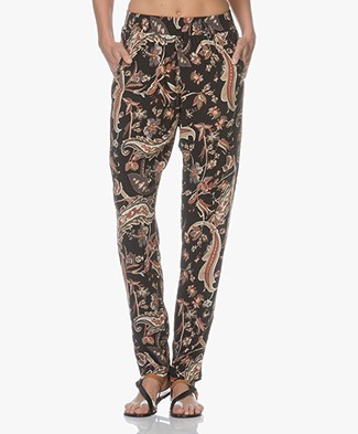 no man's land Printed Viscose Paisley Pants - Core Black