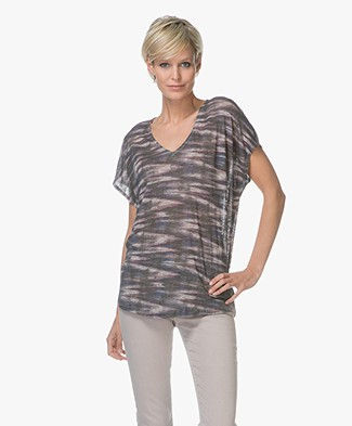 Repeat Linnen V-hals T-shirt met Print - Multicolor