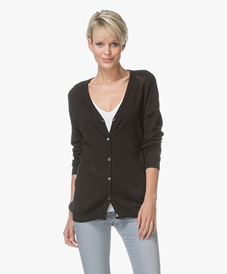 Repeat V-neck Cardigan with Stars - Black