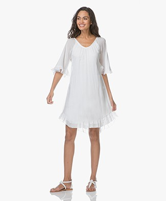 BRAEZ Birgit Voile Ruffle Dress - White