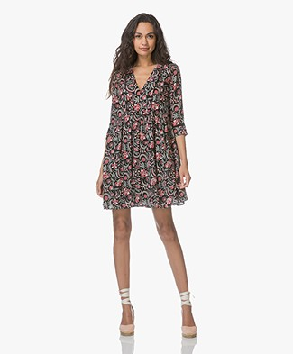 Ba&sh Haley Viscose Printed Mini Dress - Black
