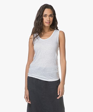 Belluna Air Linen Slub Jersey Tank Top - White