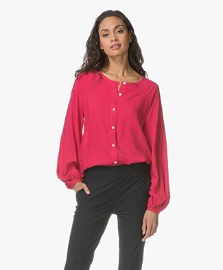 Denham Sky Blouse with Voluminous Sleeves - Dark Pink