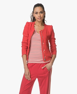 IRO Agnette Distressed Bouclé Blazer - Poppy red