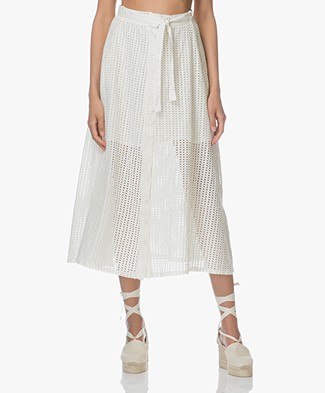 Leï 1984 Marinette Embroidered A-line Midi Skirt - Nacre