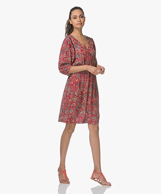 MKT Studio Riglou Bohemian Floral Printed Dress - Cherry