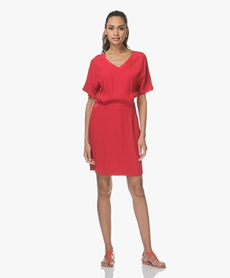 MKT Studio Robil Viscose Dress with Satin - Red