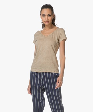 MKT Studio Talip Linen T-shirt with Embroidered Details - Beige