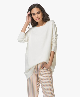 Majestic Oversized Trui met Cashmere - Off-white