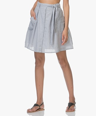 Marie Sixtine Erika Striped Seersucker Skirt - Charbon