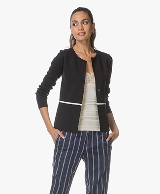 Belluna Cairo Short Cotton Blend Cardigan - Navy/Ecru