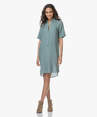 Belluna Terre Linen Shirt Dress - Jade