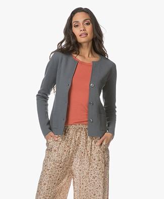 Belluna Toni Fine Knit Cotton Cardigan - Greyish Khaki
