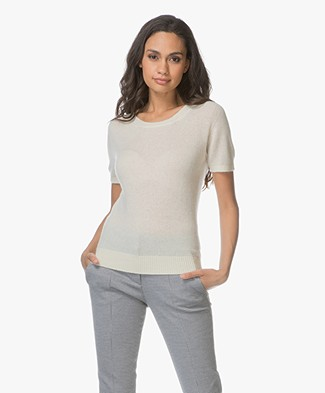 Majestic Short Sleeve Cashmere Pullover - Cream