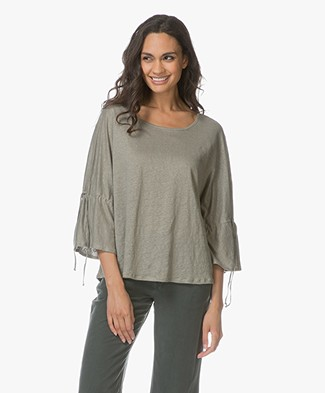Repeat Linen T-shirt with Drawstring Sleeves - Light Khaki