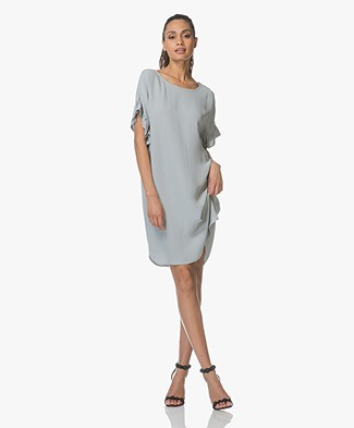 Repeat Dress with Frill Sleeves - Steel