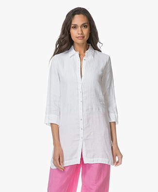 Belluna Fish Linen Tunic Blouse - White