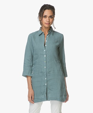 Belluna Fish Linen Tunic Blouse - Jade