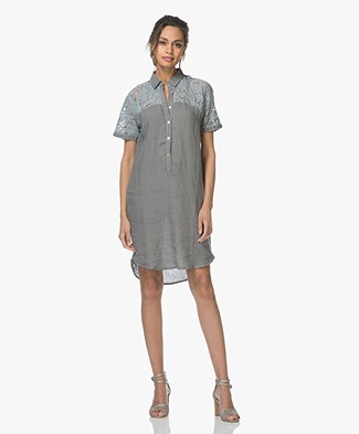 Belluna Steff Linen Dress with Lace - Greyish Khaki
