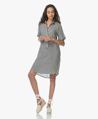 Belluna Terre Linen Shirt Dress - Greyish Kaki
