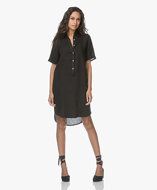 Belluna Terre Linen Shirt Dress - Black