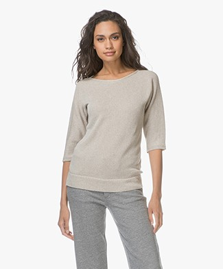 Belluna Weekend Half Sleeve Viscose Blend Pullover - Beige