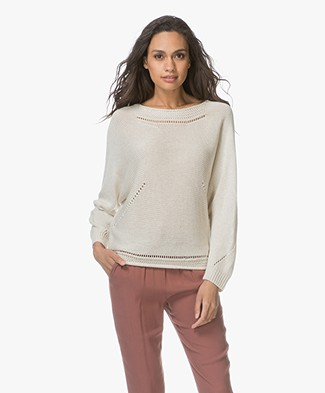 Indi & Cold Viscose Blend Sweater with Ajour Details - Marfil
