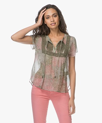 Indi & Cold Chiffon Printed Short Sleeve Blouse - Militar