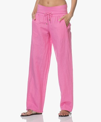 LaSalle Wide Leg Linen Pants with Jersey Waistband - Pink