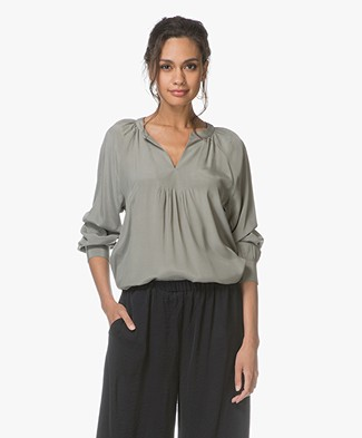 Repeat Viscose Blouse - Licht Kaki