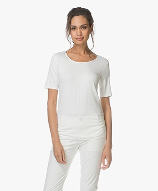 Repeat Viscose Jersey T-shirt - Cream
