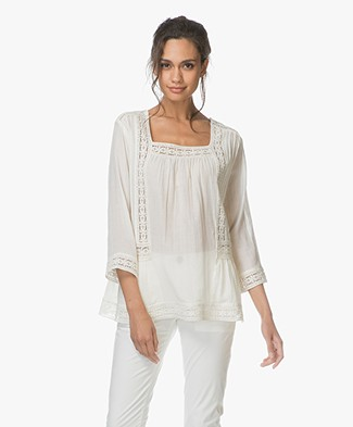 Repeat Embroidered A-line Blouse - Cream