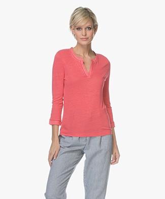 Belluna Nucci Linen Cropped Sleeve T-shirt - Peche