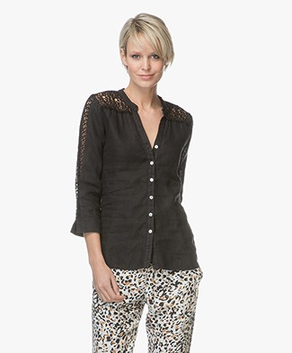 Belluna Sasja Linen Blouse with Lace - Black