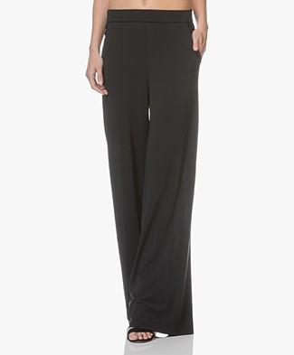 LaSalle Italian Jersey Wide Leg Pants - Black