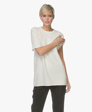 extreme cashmere N°64 Lang Gebreid T-shirt - Off-white