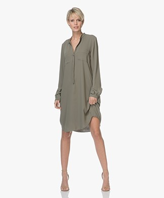 Woman by Earn Ted Jersey Mao Collar Shirt Dress - Army