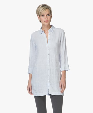 Belluna Fish Linen Tunic Blouse - Blue
