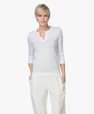 Belluna Nucci Linen Cropped Sleeve T-shirt - White