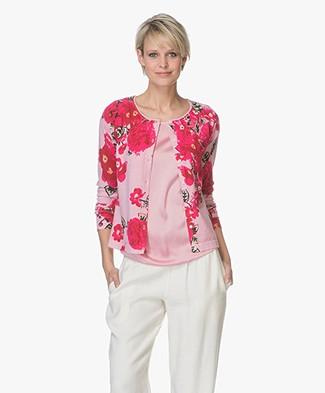 Kyra & Ko Fenna Short Floral Print Cardigan - Pink