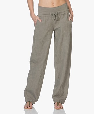 LaSalle Wide Leg Linen Pants with Jersey Waistband - Khaki Green