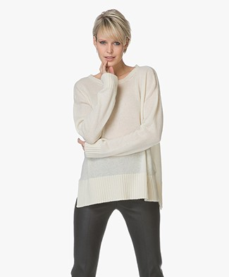 Majestic Cashmere Pullover with Open-work Details - Cream