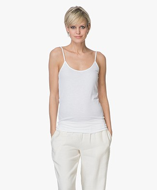 Majestic Refined Ribbed Jersey Top - White