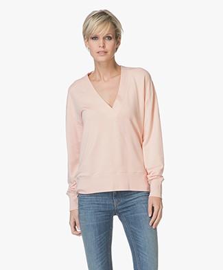 Rag & Bone Flora V-neck Pullover - Pink Rose