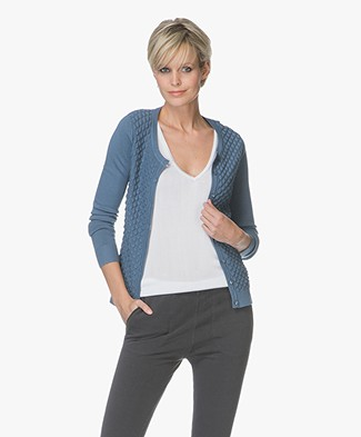 Belluna Solo Cardigan in Honeycomb Knit - Bluestone