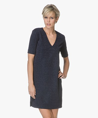By Malene Birger Gliitasi Lurex  Jersey Dress - Blue Velvet
