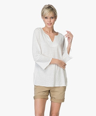 no man's land Top Linen Cropped Sleeve T-shirt - Ivory