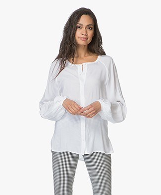 Denham Sky Blouse with Voluminous Sleeves - Optic White