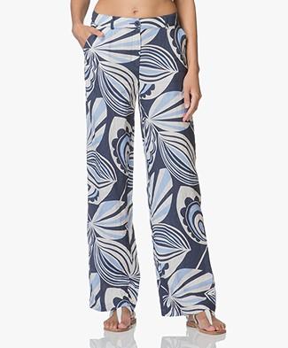 Kyra & Ko Ada Linen Printed Pants - Navy