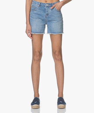 MKT Studio The Lenny-Strada Denim Shorts - Blue Double Stone Wash